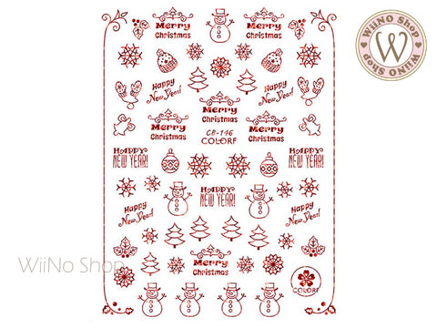 Red Holographic Christmas Adhesive Nail Art Sticker - 1 pc (CB-146RH)