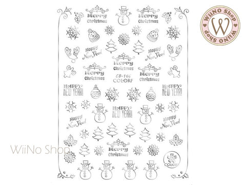 Silver Christmas Adhesive Nail Art Sticker - 1 pc (CB-146S)