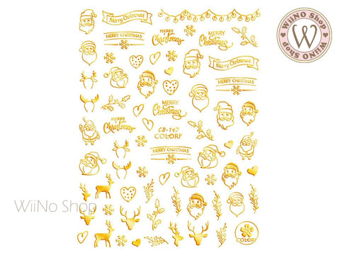 Gold Christmas Adhesive Nail Art Sticker - 1 pc (CB-147G)