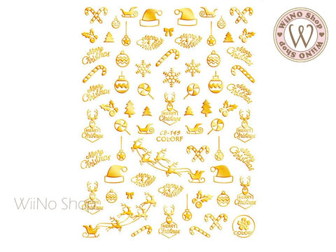 Gold Christmas Adhesive Nail Art Sticker - 1 pc (CB-149G)