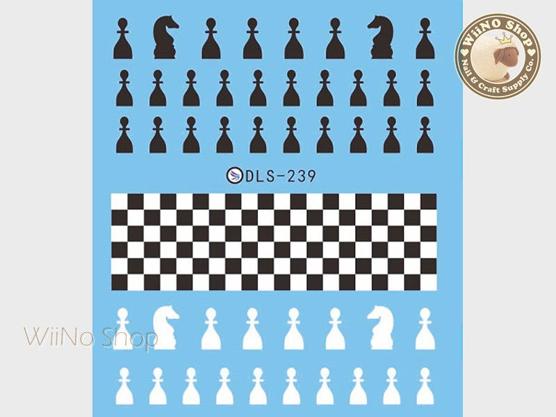 Black White Chess Water Slide Nail Art Decals - 1pc (DLS-239)