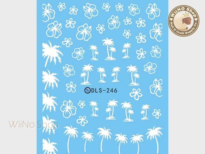 White Palm Tree Hibiscus Water Slide Nail Art Decals - 1pc (DLS-246)