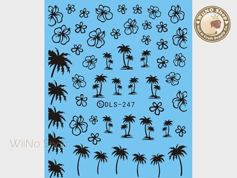 Black Palm Tree Hibiscus Water Slide Nail Art Decals - 1pc (DLS-247)