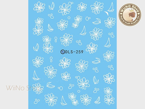 White Floral Water Slide Nail Art Decals - 1pc (DLS-259)