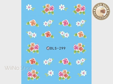 Flower Bouquet Water Slide Nail Art Decals - 1 pc (DLS-299)
