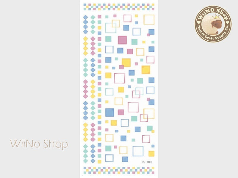 Square Geometry Pattern Water Slide Nail Art Decals - 1 pc (DS-001)