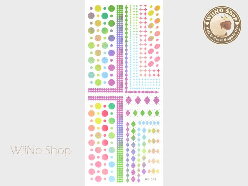 Rainbow Circle Argyle Pattern Water Slide Nail Art Decals - 1 pc (DS-005)