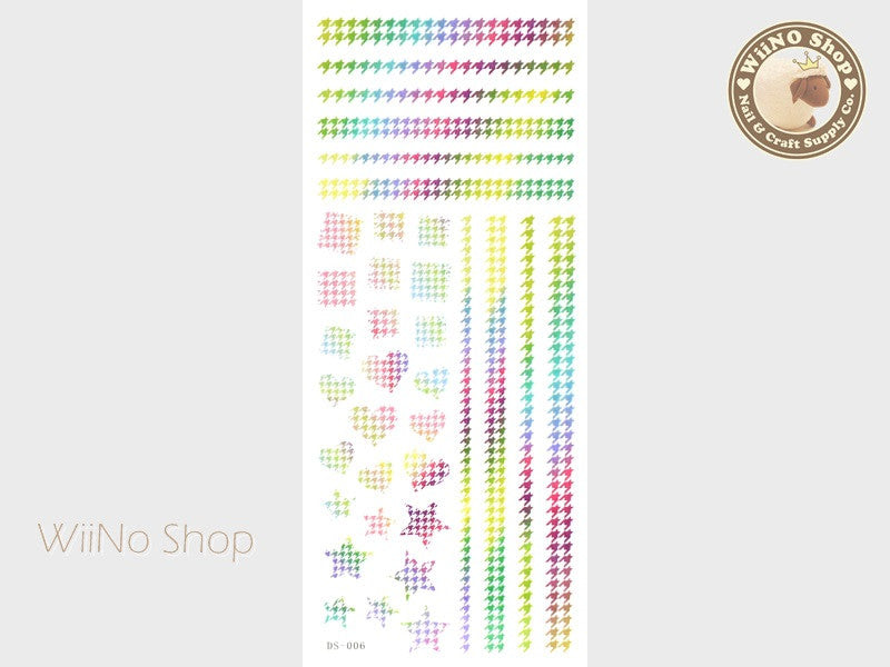 Rainbow Houndstooth Pattern Water Slide Nail Art Decals - 1 pc (DS-006)