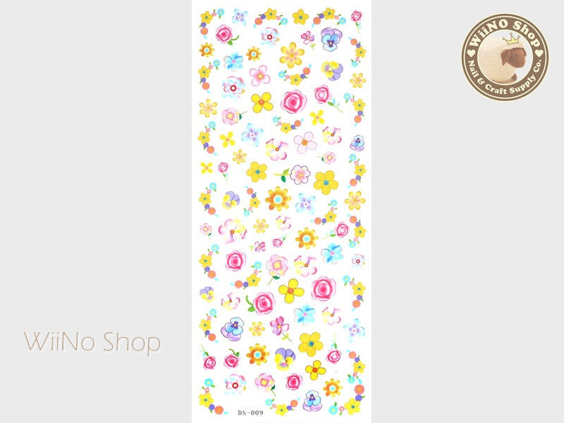 Summer Floral Water Slide Nail Art Decals - 1 pc (DS-009)