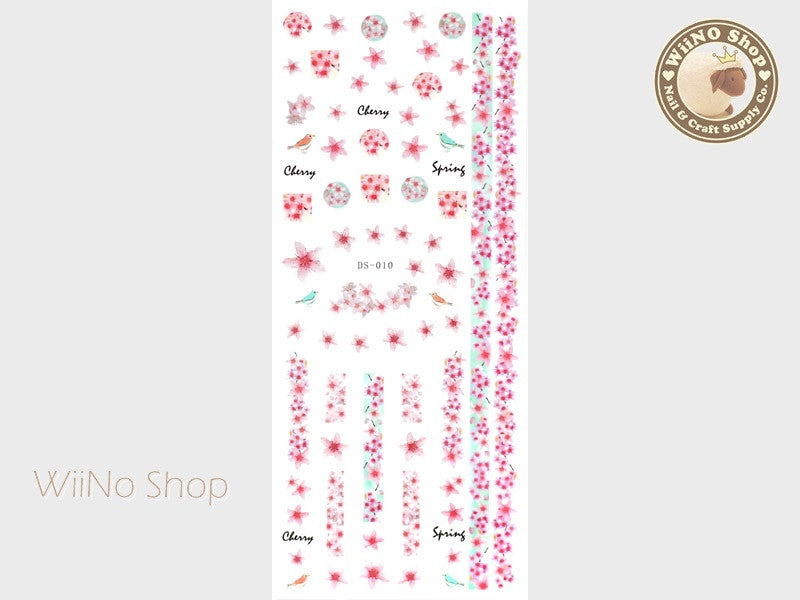 Spring Cherry Blossom Water Slide Nail Art Decals - 1 pc (DS-010)