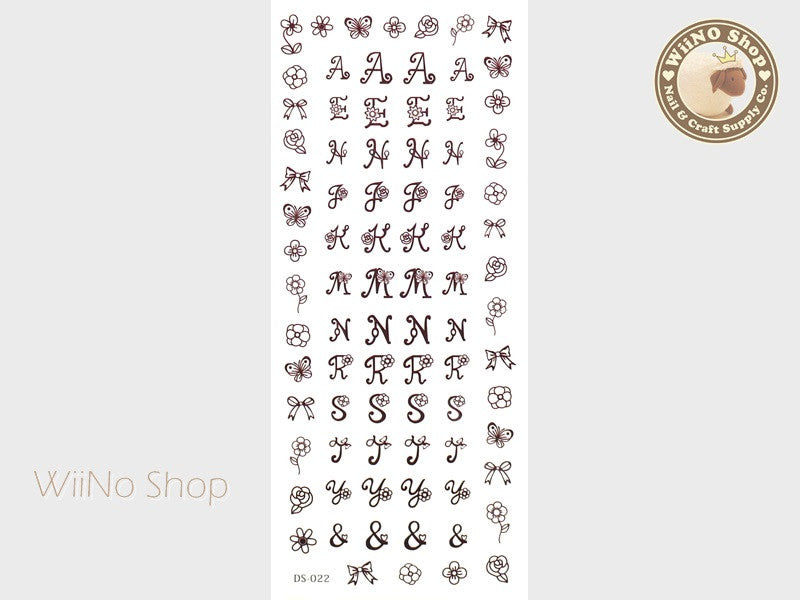 Cute Letter Fonts Water Slide Nail Art Decals - 1 pc (DS-022)