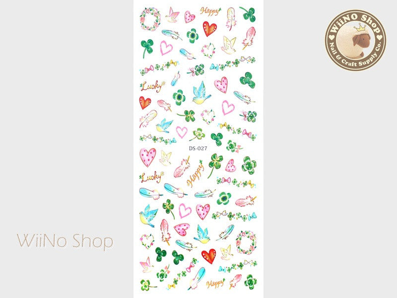 Bird with Clover Water Slide Nail Art Decals - 1 pc (DS-027)