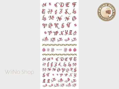Rose Letter Fonts Water Slide Nail Art Decals - 1 pc (DS-033)
