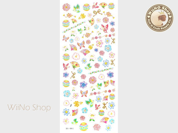 Japanese Flowers Butterfly and Fans Water Slide Nail Art Decals - 1 pc (DS-061)