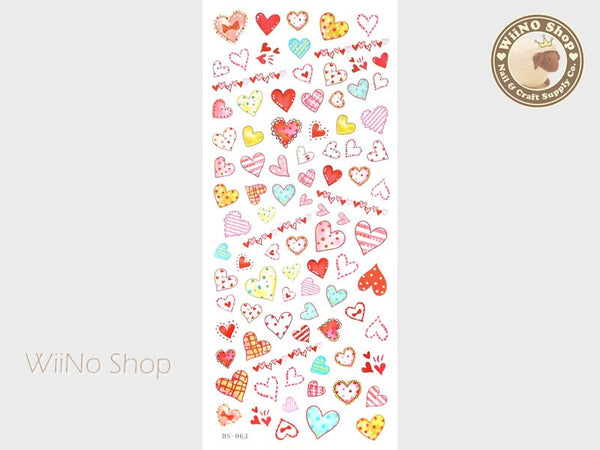 Cute Hearts Water Slide Nail Art Decals - 1 pc (DS-063)