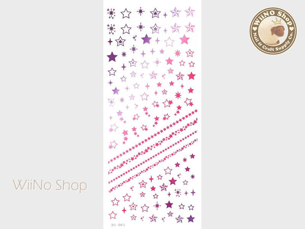 Purple Pink Gradation Star Water Slide Nail Art Decals - 1 pc (DS-065)