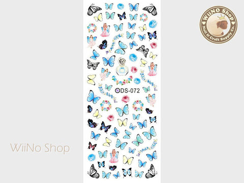 Blue Butterfly Water Slide Nail Art Decals - 1 pc (DS-072)
