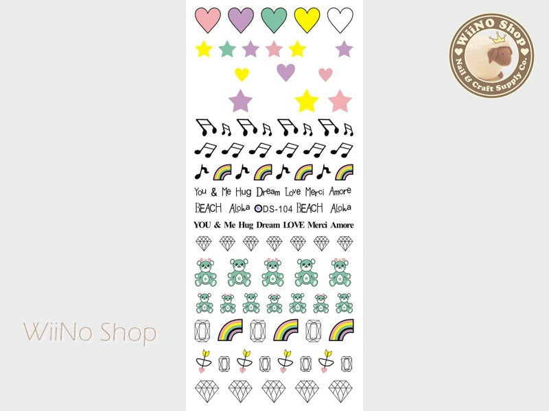 Music Rainbow Bear Diamond Water Slide Nail Art Decals - 1 pc (DS-104)