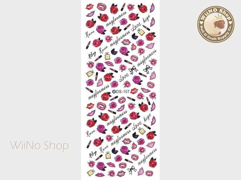 Rose Lips Perfume Water Slide Nail Art Decals - 1 pc (DS-107a)