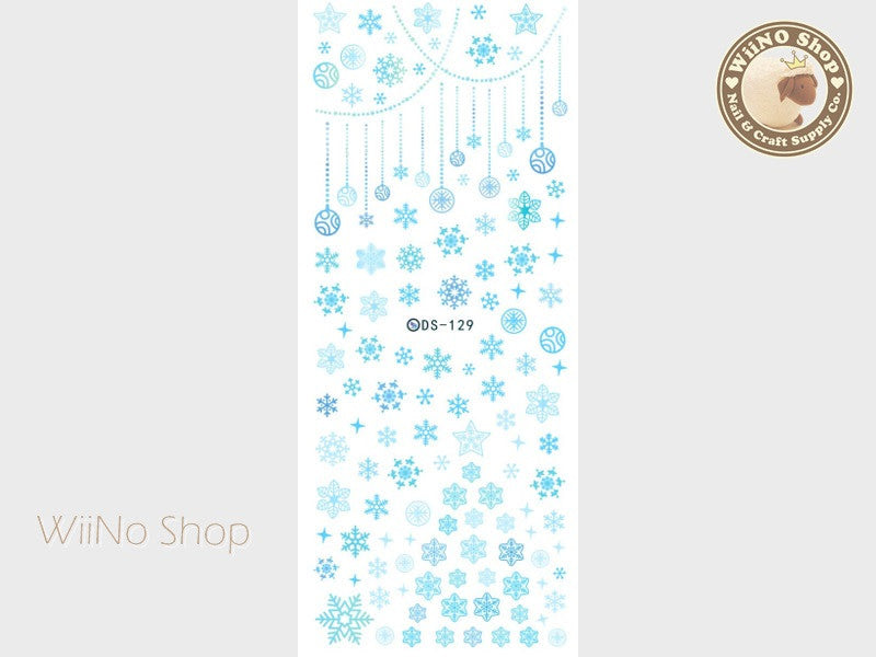 Blue Snowflake Water Slide Nail Art Decals - 1 pc (DS-129)