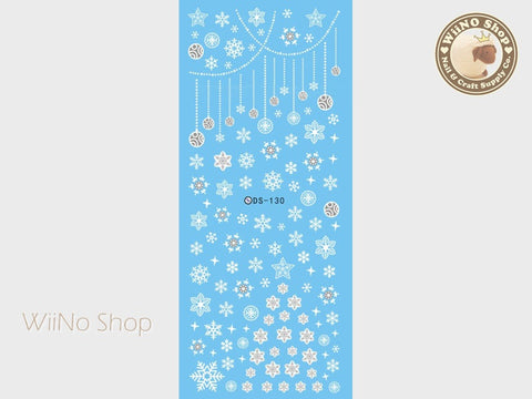 White Snowflake Water Slide Nail Art Decals - 1 pc (DS-130)