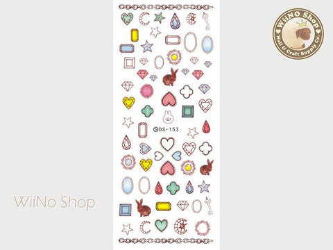 Colorful Diamond & Rabbit Water Slide Nail Art Decals - 1 pc (DS-153)