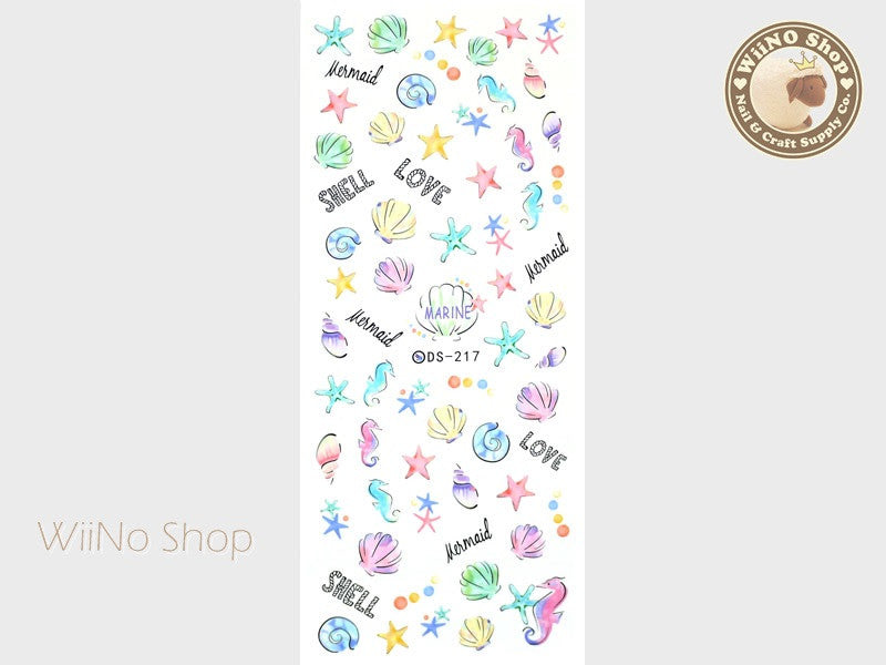 Pastel Seashell Seahorse Starfish Water Slide Nail Art Decals - 1 pc (DS-217)