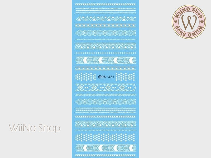 White Tribal Pattern Water Slide Nail Art Decals - 1 pc (DS-321)