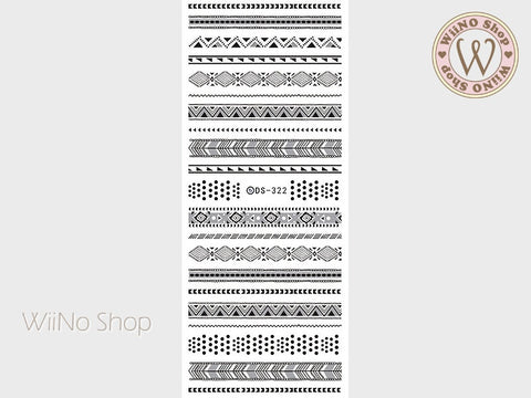 Black Tribal Pattern Water Slide Nail Art Decals - 1 pc (DS-322)