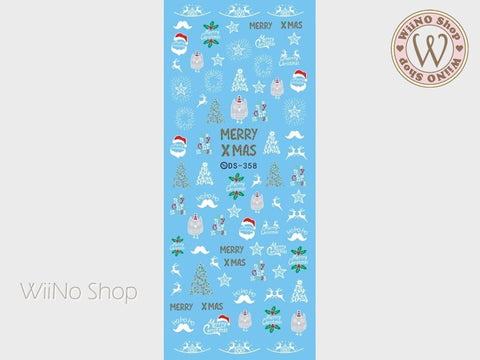 Cute Owl Christmas Water Slide Nail Art Decals - 1pc (DS-358)