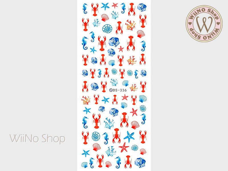 Lobster Seashell Water Slide Nail Art Decals - 1 pc (DS-336)