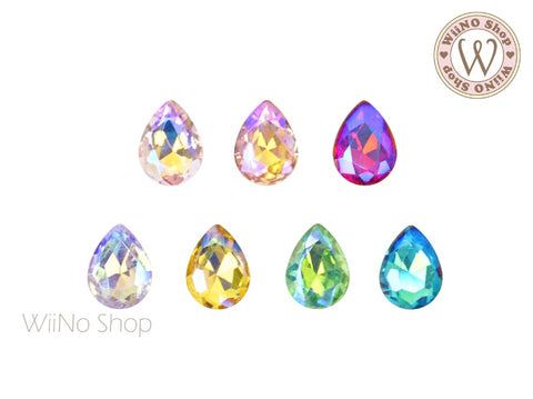 6 x 8mm AB Iridescent Drop 3D Back Crystal - 5 pcs