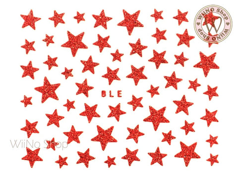 Glitter Star Red Adhesive Nail Sticker Nail Art - 1 pc (BLE-R)