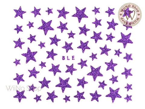 Glitter Star Purple Adhesive Nail Sticker Nail Art - 1 pc (BLE-PU)