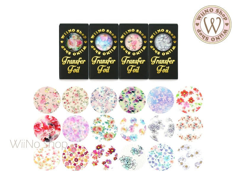 Flower Printed Transfer Foil Nail Art Decoration (A)