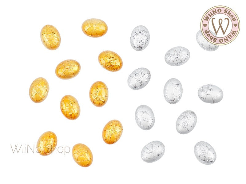 6 x 8mm Gold Silver Silk Pattern Oval Acrylic Cabochon - 10 pcs