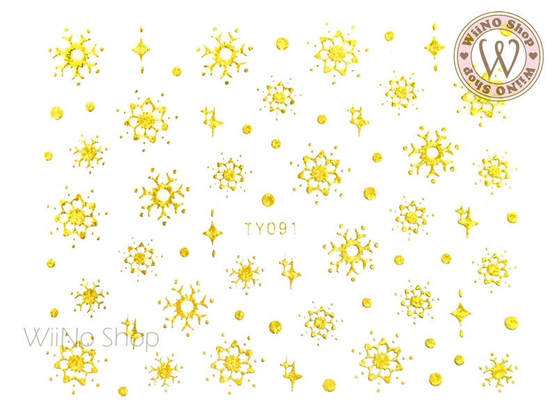 Gold Snowflake Nail Art Sticker - 1 pc (TY091G)