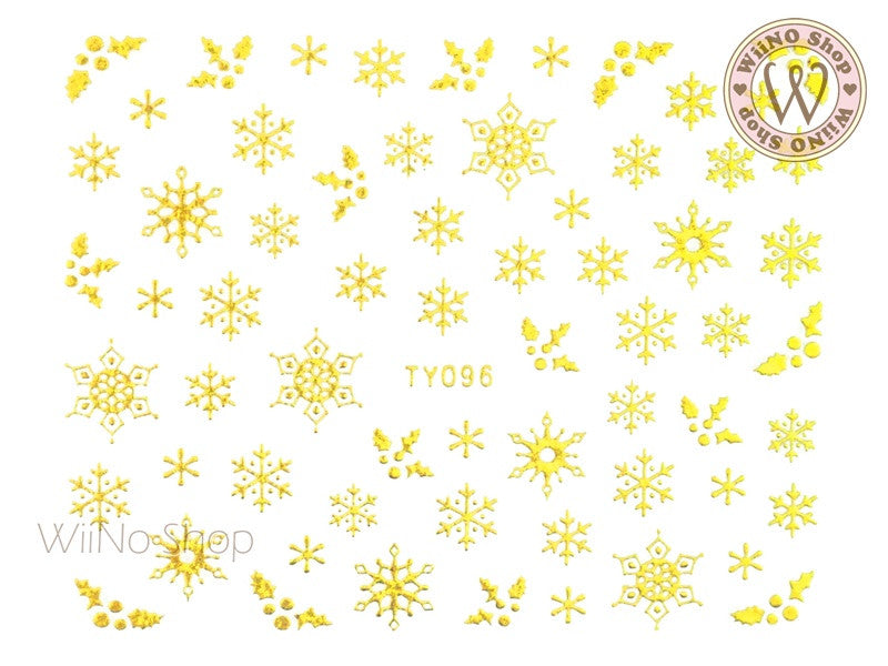 Gold Snowflake Nail Art Sticker - 1 pc (TY096G)
