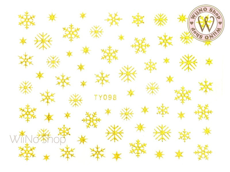 Gold Snowflake Nail Art Sticker - 1 pc (TY098G)