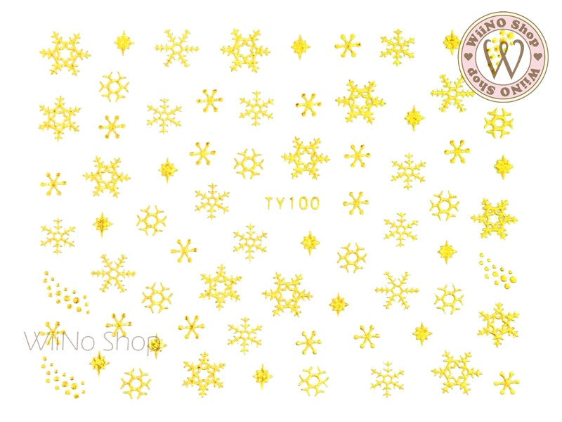Gold Snowflake Nail Art Sticker - 1 pc (TY100G)