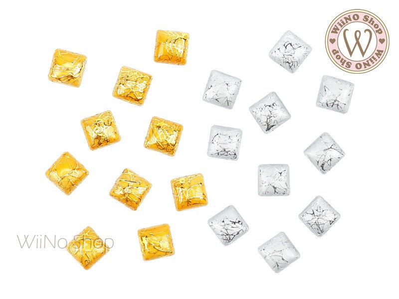 6mm Gold Silver Silk Pattern Square Acrylic Cabochon - 10 pcs