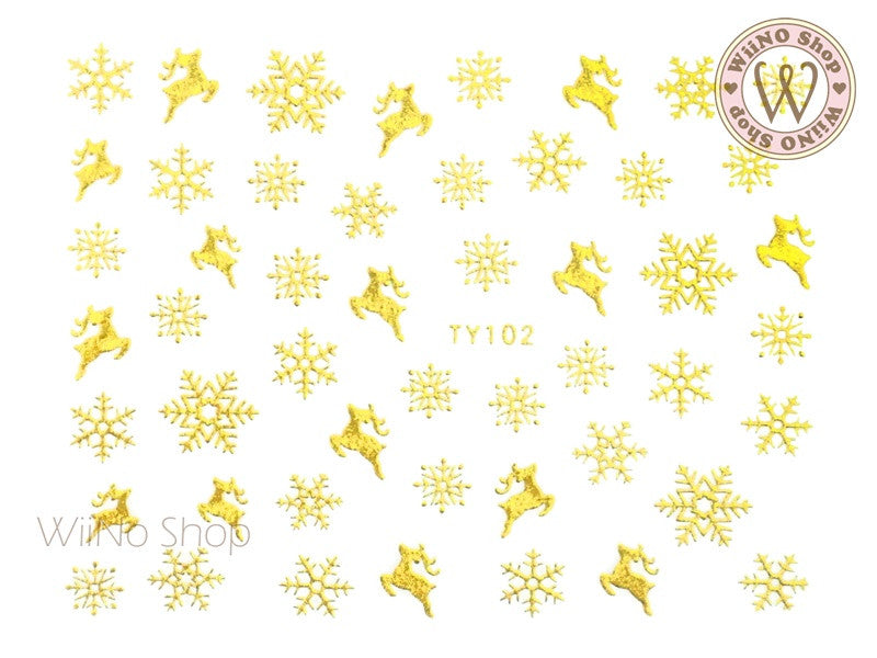 Gold Snowflake Nail Art Sticker - 1 pc (TY102G)
