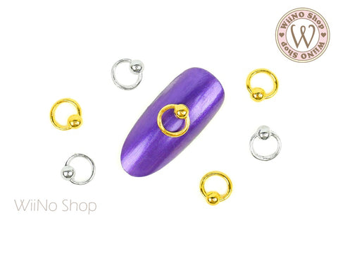 3D Captive Ring Piercing Jewelry Nail Metal Charm - 4 pcs