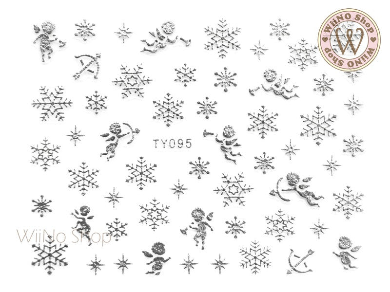 Silver Snowflake Nail Art Sticker - 1 pc (TY095S)