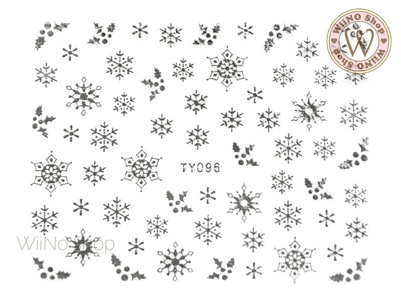 Silver Snowflake Nail Art Sticker - 1 pc (TY096S)