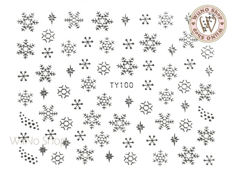 Silver Snowflake Nail Art Sticker - 1 pc (TY100S)