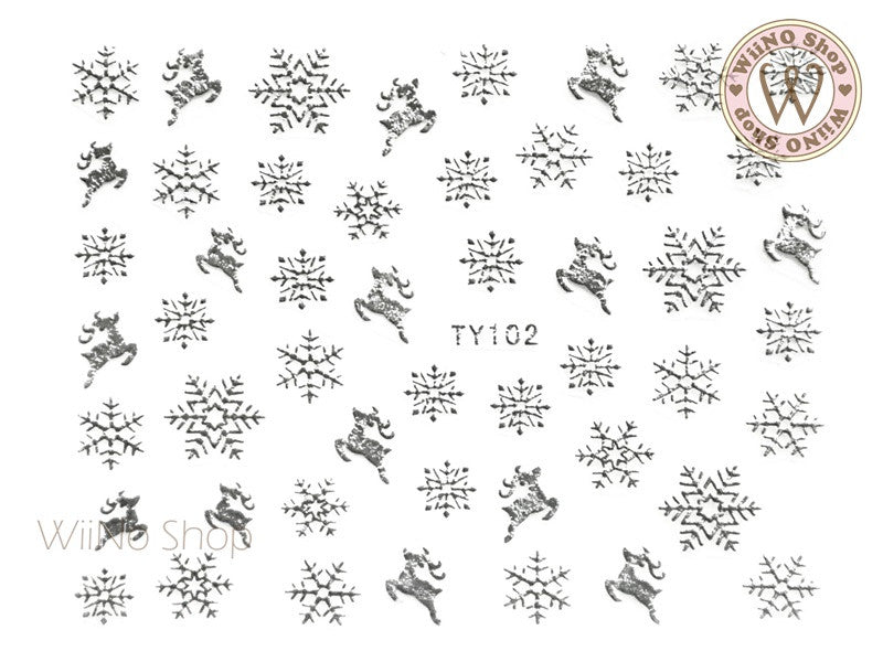 Silver Snowflake Nail Art Sticker - 1 pc (TY102S)