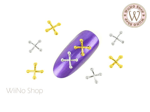 Cross Piercing Jewelry Nail Metal Charm - 4 pcs