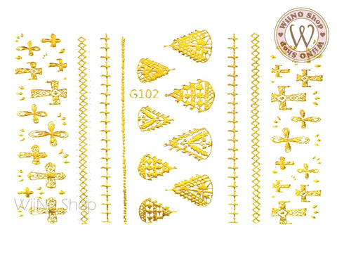 Stitch Pattern Adhesive Nail Art Sticker - 1 pc (G-102)