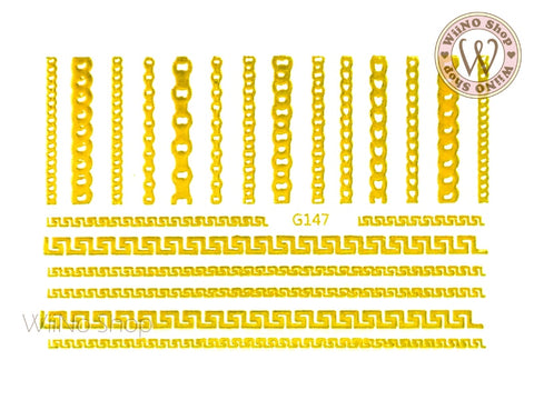 Meander Chain Pattern Adhesive Nail Art Sticker - 1 pc (G-147)